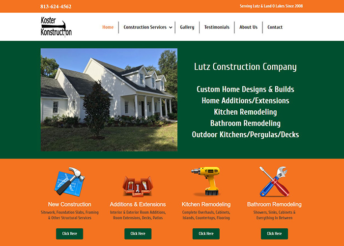 Image of Website Redesign for Lutz Construction Company Koster Konstruction